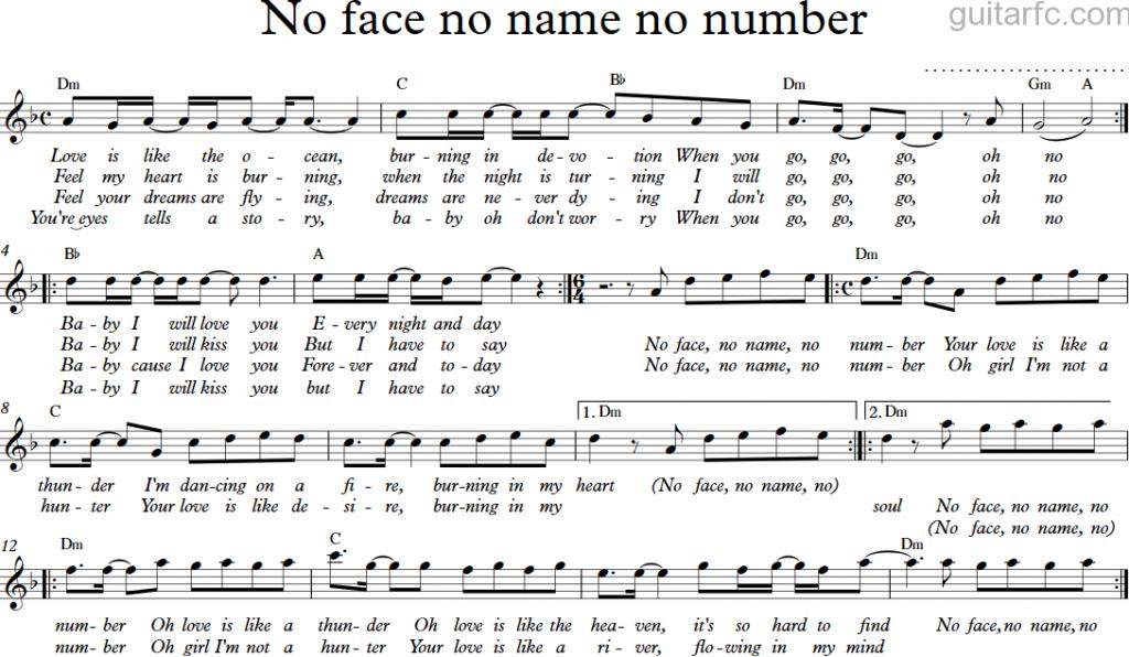 Sheet nhạc bài hát no face no name no number