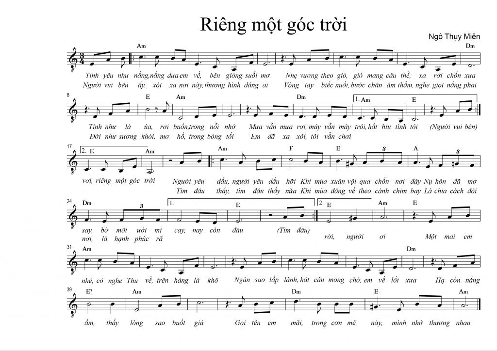 Sheet nhạc bài hát riêng một góc trời