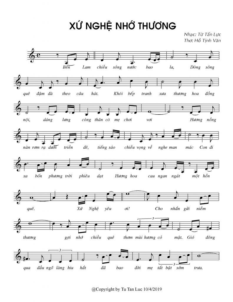 Sheet nhạc bài hát xứ Nghệ nhớ thương 1