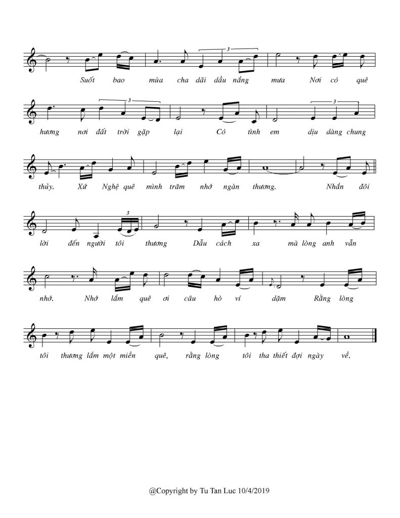 Sheet nhạc bài hát xứ Nghệ nhớ thương 2