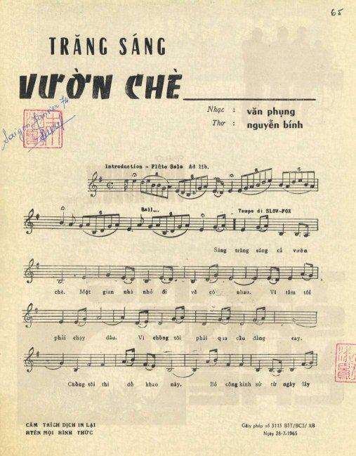Sheet nhạc bài hát trăng sáng vườn chè 1