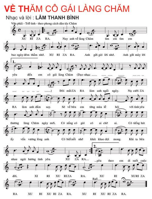 Sheet nhạc bài hát về thăm cô gái làng Chăm