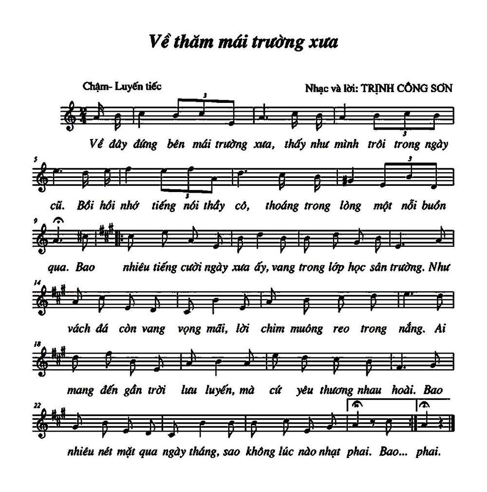 Sheet nhạc bài hát ve tham mai truong