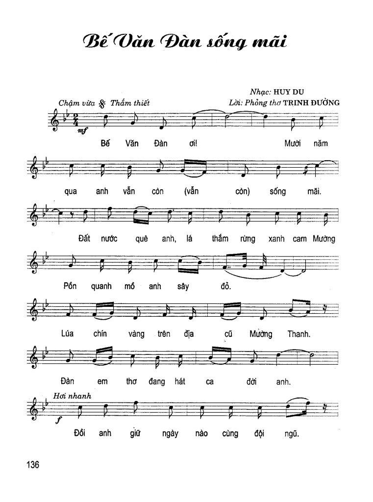 Sheet nhạc bài hát Bế Văn Đàn sống mãi 1